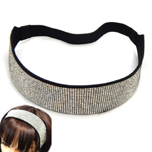 38mm STRETCH HEADBAND CLEAR RHINESTONES ( 3015 BKCLR )