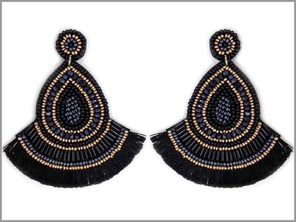 BLACK BEAD THREAD TASSEL EARRINGS ( 3243 )
