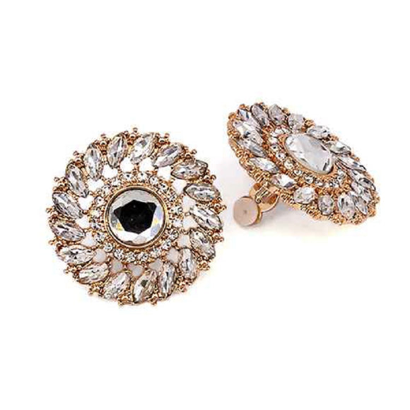 GOLD CIRCLE EARRINGS CLEAR STONES CLIP ON ( 3334 GDCLR )