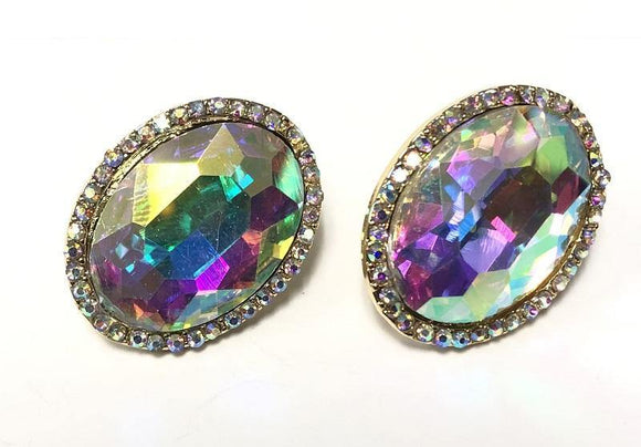 GOLD CLIP ON EARRINGS AB STONES ( 0198 C 2X )