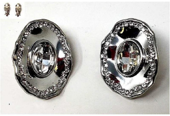 SILVER CLEAR STONE METAL CLIP ON EARRINGS ( 20006 )