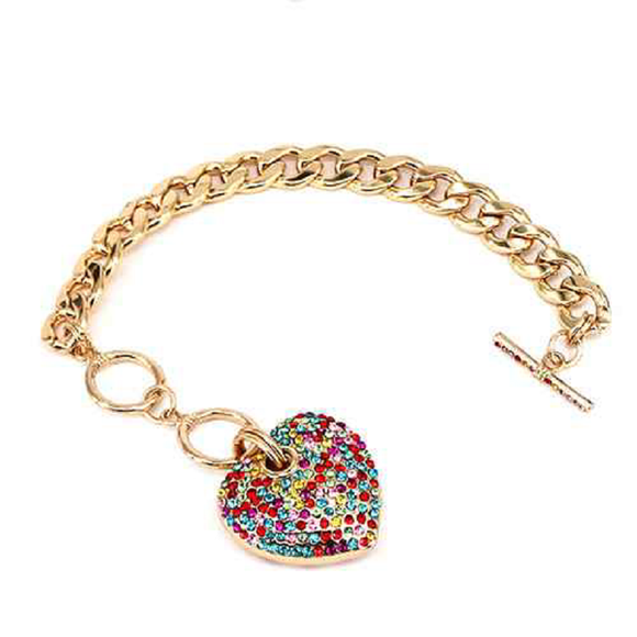 GOLD HEART CHARM BRACELET WITH MULTI COLOR STONES ( 7032 )