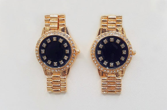 GOLD BLACK WATCH EARRINGS CLEAR STONES ( 1541 GDBK )