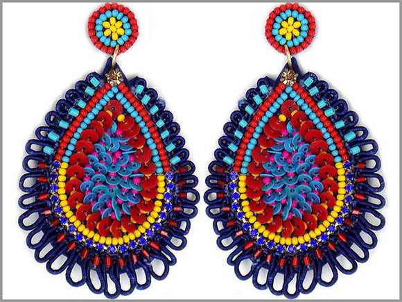 BLUE SEQUIN BEAD EARRINGS ( 3246 )