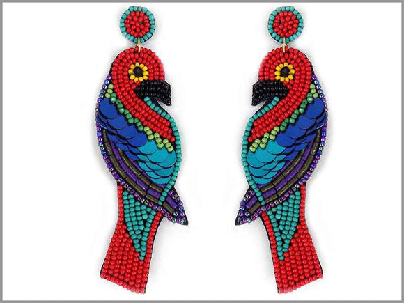 MULTI COLOR BIRD BEAD EARRINGS ( 3056 )