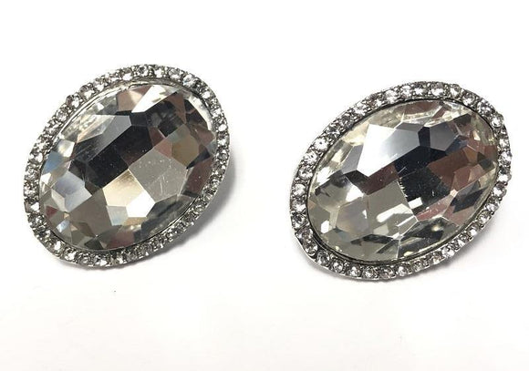 SILVER CLIP ON EARRINGS CLEAR STONES ( 0198 C 3C )