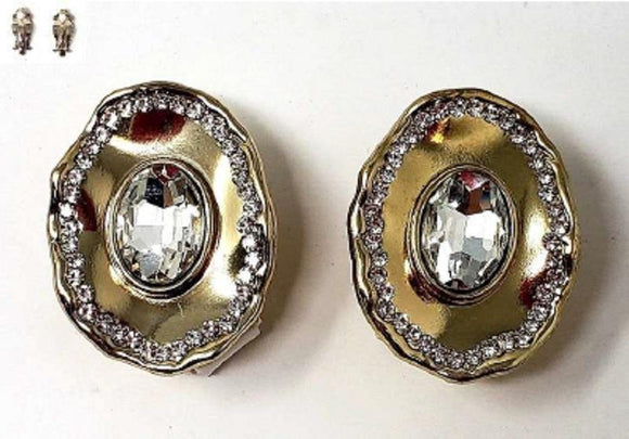 GOLD CLEAR STONE METAL CLIP ON EARRINGS ( 20006 )