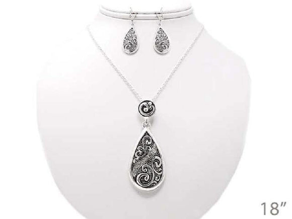 SILVER FILIGREE NECKLACE SET ( 04567 )