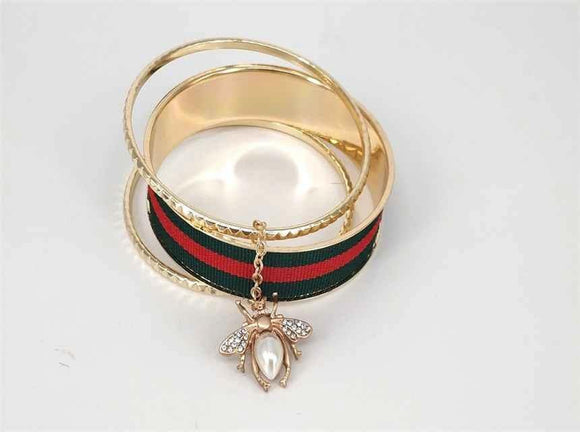 GOLD RED GREEN BANGLE SET INSECT ( 2017 )