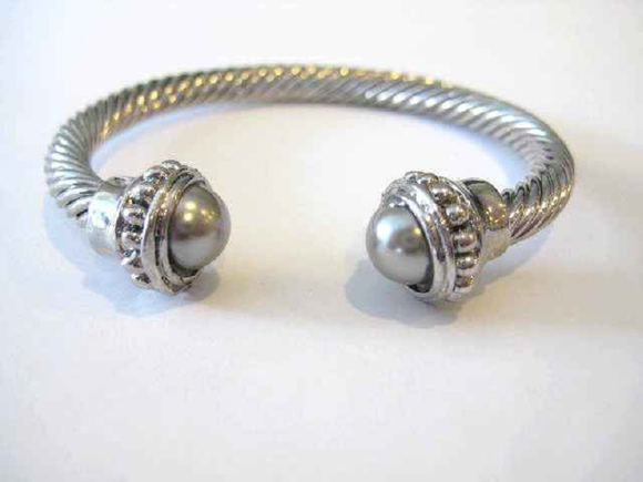 SILVER GRAY TWISTED CUFF BANGLE ( 123 )