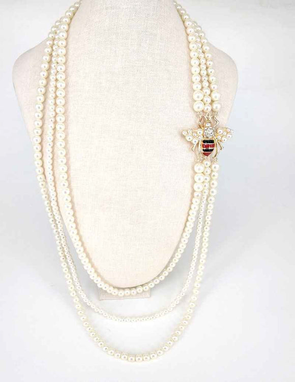 GOLD CREAM PEARL NECKLACE SET BEE ( 2641 )