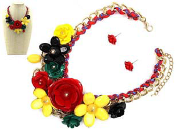 GOLD RED MULTI COLOR FLOWER NECKLACE SET ( 1234 )