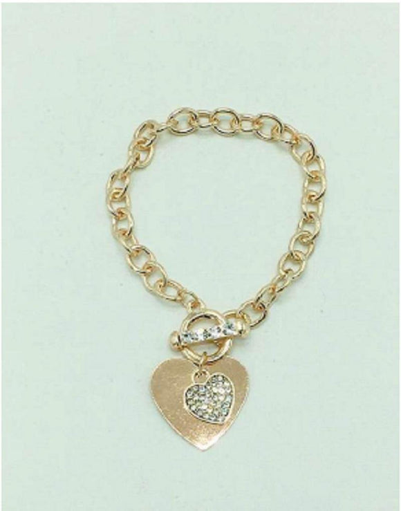 ROSE GOLD HEART CHARM SHINY BRACELET ( 2467 )