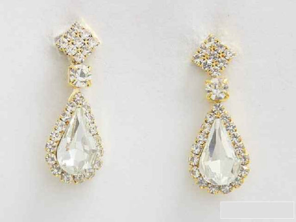 GOLD DANGLING CLEAR STONES ( 6433 GAB )