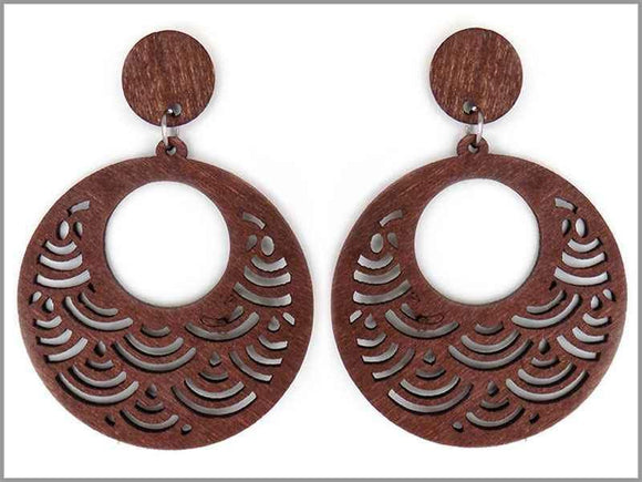 BROWN WOODEN SCALE PATTERN EARRINGS ( 3429 )