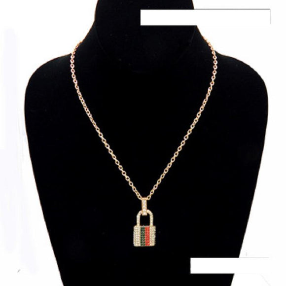 Gold Clear RED GREEN Rhinestone Lock Charm Necklace ( 3467 GDGMT ) - Ohmyjewelry.com