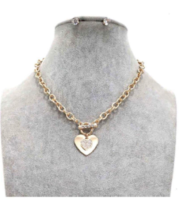 GOLD HEART NECKLACE SET CLEAR STONES ( 20004 G )