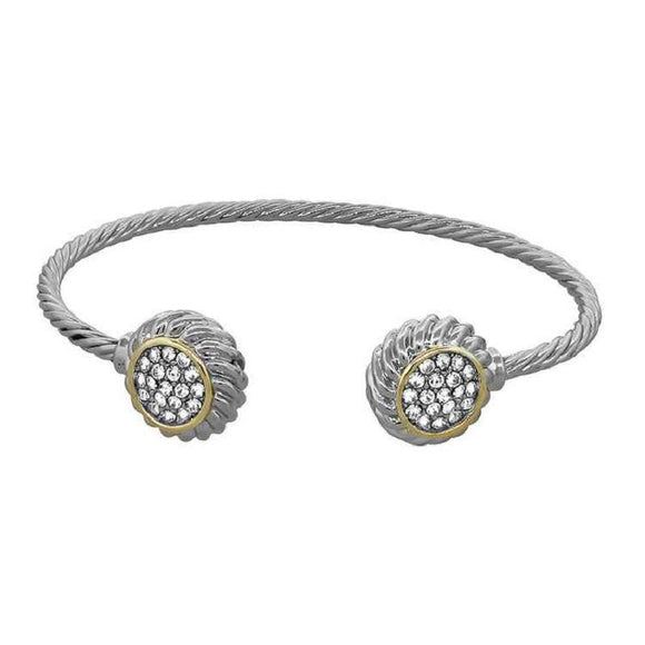 SILVER GOLD CUFF BANGLE CLEAR STONES ( 8107 )