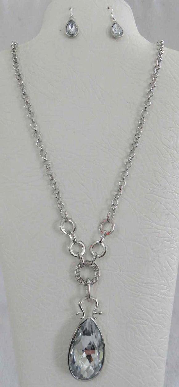 SILVER NECKLACE SET CLEAR STONES ( 3661 SCL )