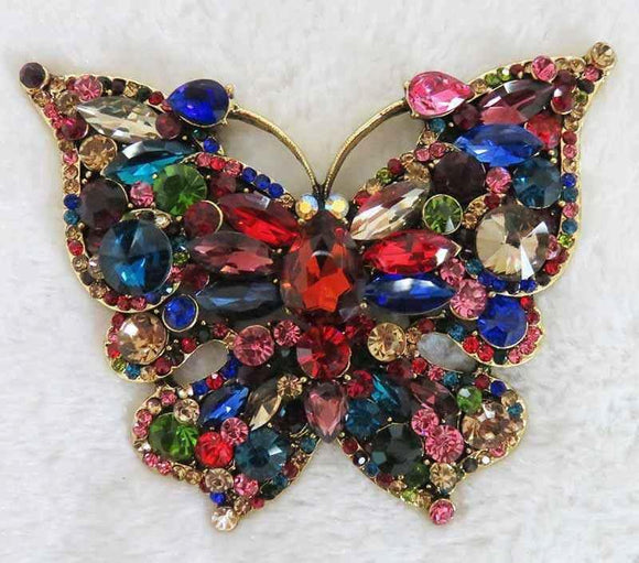 LARGE BUTTERFLY BROOCH PENDANT GOLD MULTI COLOR ( 2977 )