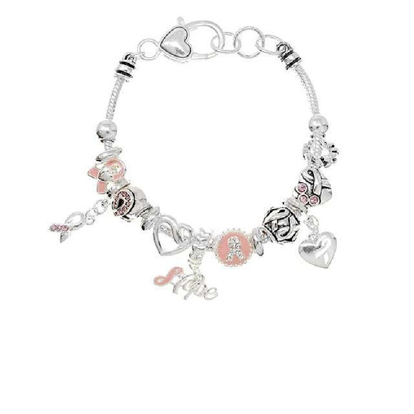 SILVER CHARM BRACELET WITH PINK RIBBON CHARMS AND HEARTS ( 08220 )