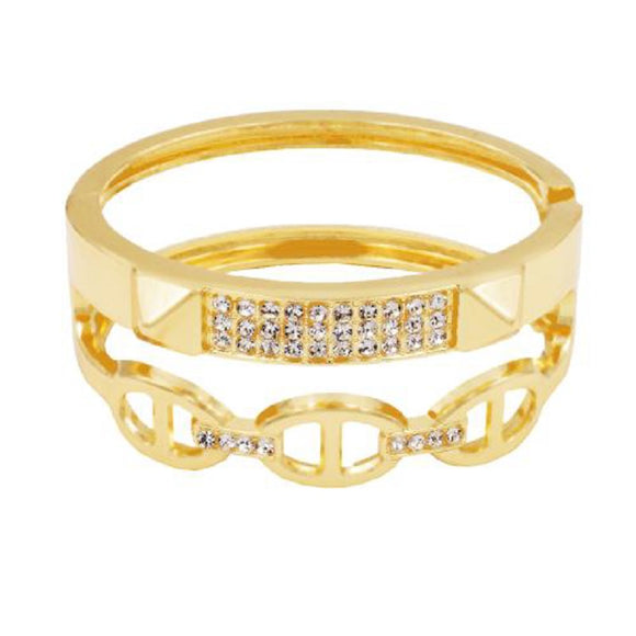 GOLD PLATED HINGED BANGLE CLEAR STONES ( 5396 )