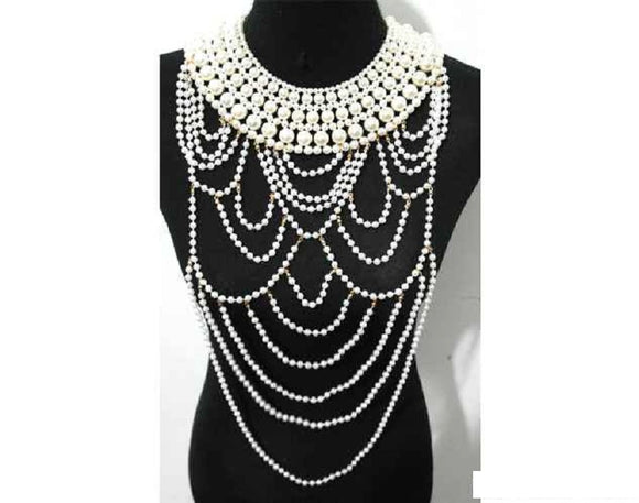 GOLD CREAM PEARL BODY NECKLACE SET ( 10512 )