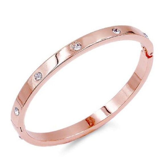 ROSE GOLD BANGLE CLEAR STONES ( 5408 RG ) - Ohmyjewelry.com