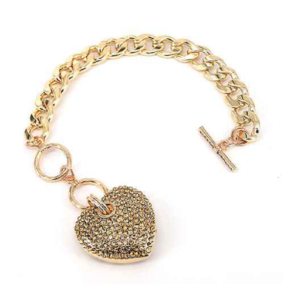 GOLD HEART CHARM BRACELET WITH TOPAZ STONES ( 7032 )