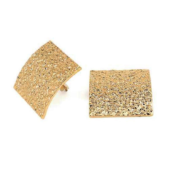 GOLD TEXTURED CLIP ON EARRINGS ( 3309 )