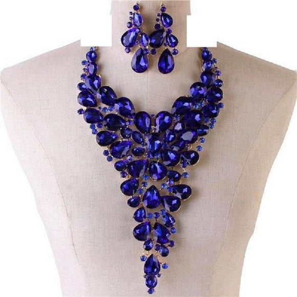 LARGE SILVER NECKLACE SET ROYAL BLUE AB STONES ( 014178 BL )