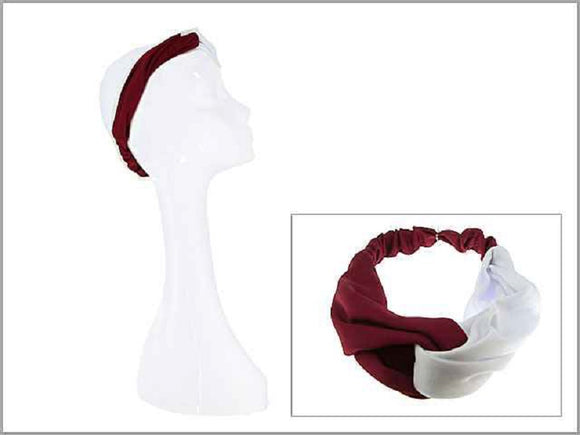 CRIMSON RED AND WHITE STRETCH HEADBAND ( 0007 )