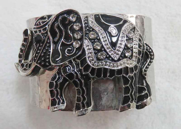 ANTIQUE SILVER CUFF BANGLE BLACK ELEPHANT CLEAR STONES ( 3931 SBK )