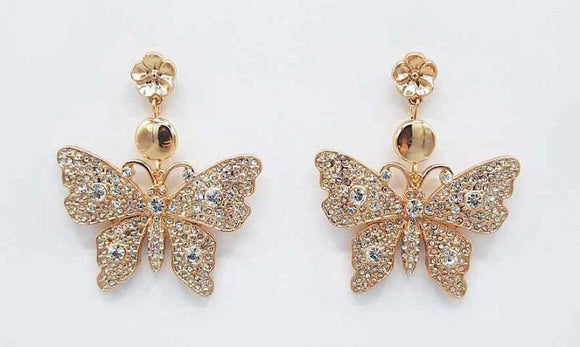 GOLD BUTTERFLY EARRINGS CLEAR STONES ( 1191 GDCRY )