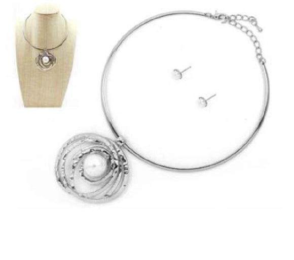 SILVER CHOKER NECKLACE SET PEARL ( 7283 RHCRP )