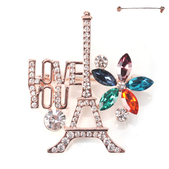 ROSE GOLD EIFFEL TOWER MULTI COLOR STONE BROOCH ( 8266 )