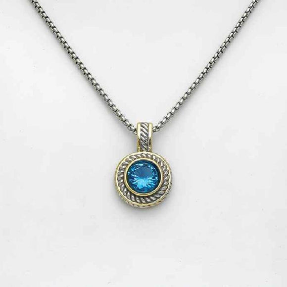 SILVER GOLD NECKLACE TEAL STONE ( 7713 TL )