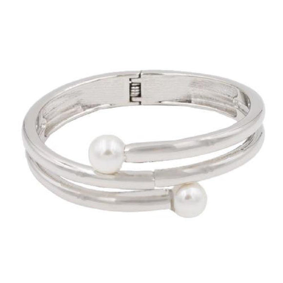 SILVER HINGE BANGLE WHITE PEARLS ( 5401 SV ) - Ohmyjewelry.com
