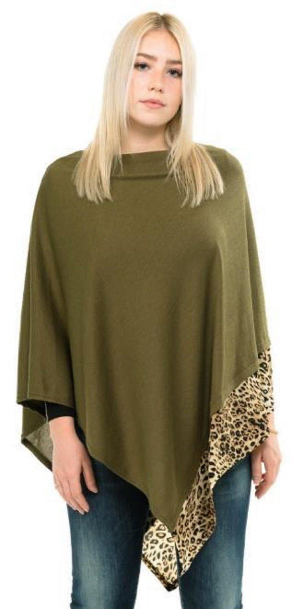 ALL YEAR ROUND LEOPARD TRIM SOLID OLIVE GREEN PONCHO ( 0089 OV )
