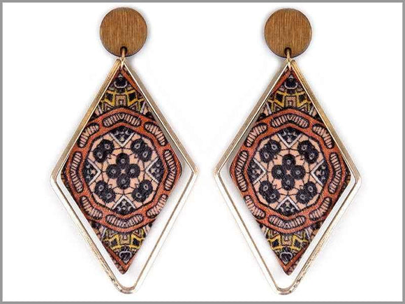 PRINTED RHOMBUS WOOD METAL RING EARRINGS ( 3680 GBR )