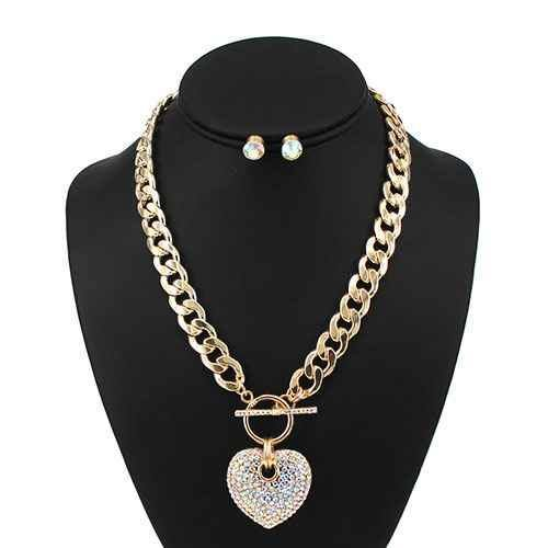 Large Gold AB Rhinestone Puffy Heart Charm Toggle Necklace ( 7075 )