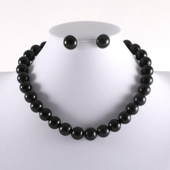 15mm BLACK Single Line Pearl Necklace with Stud Earrings ( 3929 )