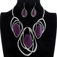 SILVER METAL NECKLACE SET WITH PURPLE STONES ( 3167 )