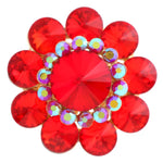 GOLD STRETCH RING WITH RED RHINESTONES ( 1249 )
