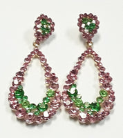 GOLD PINK AND GREEN DANGLING EARRINGS