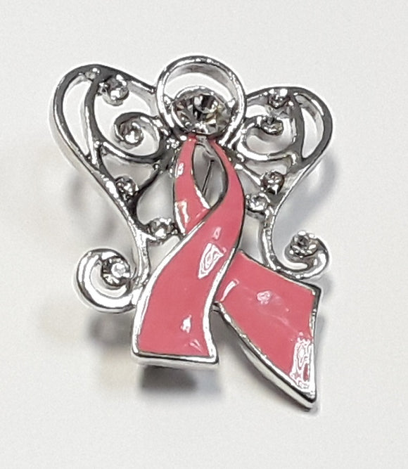 PINK RIBBON BROOCH WITH CLEAR STONE ( 13305 )