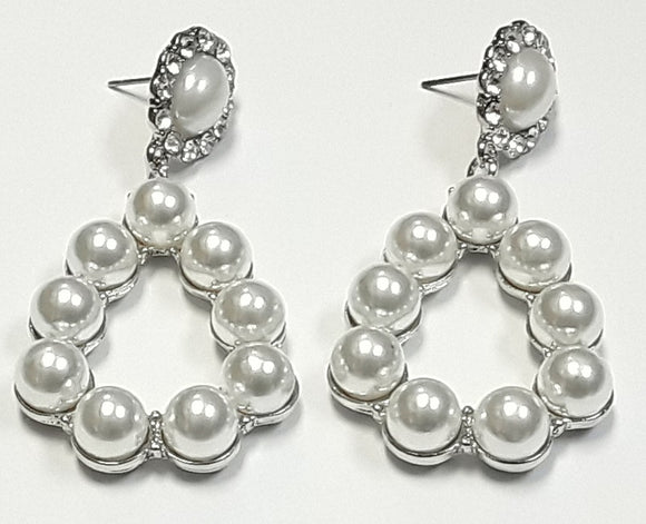 SILVER PEARL AND CLEAR STONE DANGLING EARRINGS ( 2339 )