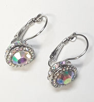 SILVER CLIP ON EARRINGS WITH AB STONES ( 1202)
