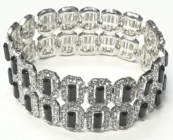 2 LAYER SILVER RECTANGLE STRETCH BRACELET CLEAR BLACK STONES ( 4482 )