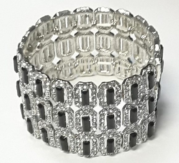 3 LAYER SILVER RECTANGLE STRETCH BRACELET CLEAR BLACK STONES ( 4480 )